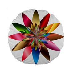 Chromatic Flower Gold Rainbow Standard 15  Premium Flano Round Cushions