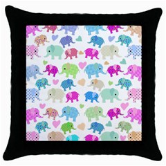 Cute Elephants  Throw Pillow Case (black) by Valentinaart