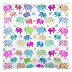 Cute Elephants  Large Flano Cushion Case (one Side) by Valentinaart