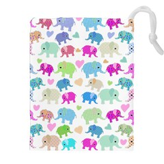 Cute Elephants  Drawstring Pouches (xxl) by Valentinaart