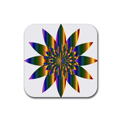 Chromatic Flower Gold Rainbow Star Light Rubber Square Coaster (4 Pack)