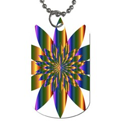 Chromatic Flower Gold Rainbow Star Light Dog Tag (one Side) by Alisyart