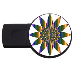 Chromatic Flower Gold Rainbow Star Light Usb Flash Drive Round (4 Gb)