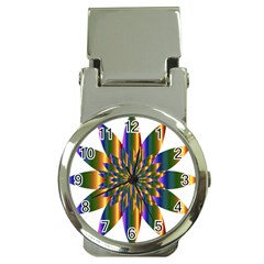 Chromatic Flower Gold Rainbow Star Light Money Clip Watches by Alisyart