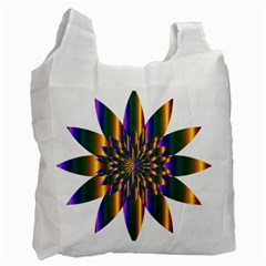 Chromatic Flower Gold Rainbow Star Light Recycle Bag (one Side)