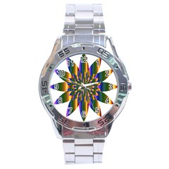 Chromatic Flower Gold Rainbow Star Light Stainless Steel Analogue Watch