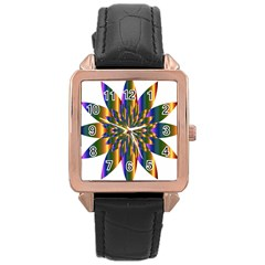Chromatic Flower Gold Rainbow Star Light Rose Gold Leather Watch  by Alisyart