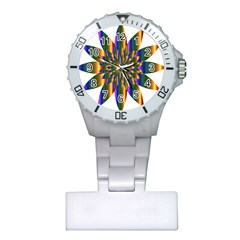 Chromatic Flower Gold Rainbow Star Light Plastic Nurses Watch by Alisyart
