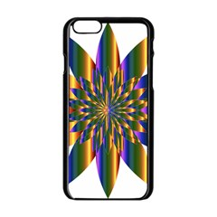 Chromatic Flower Gold Rainbow Star Light Apple Iphone 6/6s Black Enamel Case by Alisyart
