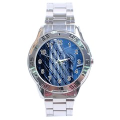 Building Architectural Background Stainless Steel Analogue Watch by Simbadda