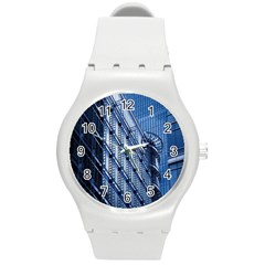 Building Architectural Background Round Plastic Sport Watch (m) by Simbadda