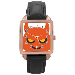 Devil Rose Gold Leather Watch  by Alisyart