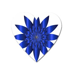 Chromatic Flower Blue Star Heart Magnet
