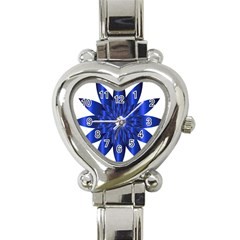 Chromatic Flower Blue Star Heart Italian Charm Watch by Alisyart
