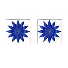 Chromatic Flower Blue Star Cufflinks (square) by Alisyart