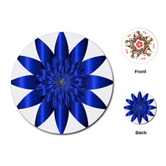 Chromatic Flower Blue Star Playing Cards (round)  by Alisyart