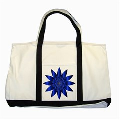 Chromatic Flower Blue Star Two Tone Tote Bag by Alisyart