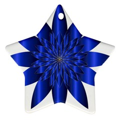 Chromatic Flower Blue Star Star Ornament (two Sides) by Alisyart