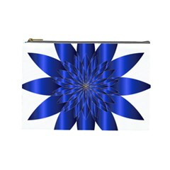 Chromatic Flower Blue Star Cosmetic Bag (large)  by Alisyart