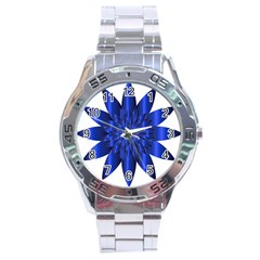 Chromatic Flower Blue Star Stainless Steel Analogue Watch