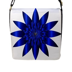 Chromatic Flower Blue Star Flap Messenger Bag (l)  by Alisyart