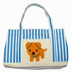 Dog Striped Blue Tote Bag