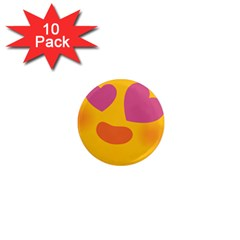 Emoji Face Emotion Love Heart Pink Orange Emoji 1  Mini Magnet (10 Pack)  by Alisyart