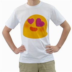 Emoji Face Emotion Love Heart Pink Orange Emoji Men s T-shirt (white) (two Sided) by Alisyart