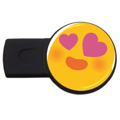 Emoji Face Emotion Love Heart Pink Orange Emoji Usb Flash Drive Round (2 Gb)