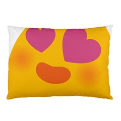 Emoji Face Emotion Love Heart Pink Orange Emoji Pillow Case by Alisyart