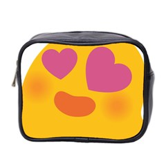 Emoji Face Emotion Love Heart Pink Orange Emoji Mini Toiletries Bag 2 Side by Alisyart