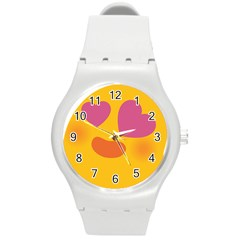 Emoji Face Emotion Love Heart Pink Orange Emoji Round Plastic Sport Watch (m) by Alisyart