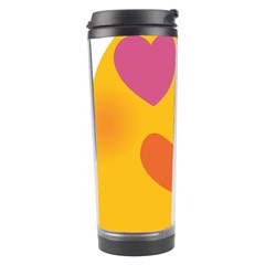Emoji Face Emotion Love Heart Pink Orange Emoji Travel Tumbler by Alisyart