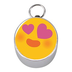 Emoji Face Emotion Love Heart Pink Orange Emoji Mini Silver Compasses by Alisyart