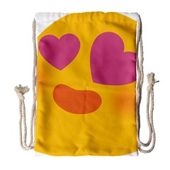 Emoji Face Emotion Love Heart Pink Orange Emoji Drawstring Bag (large) by Alisyart