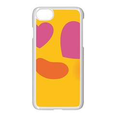 Emoji Face Emotion Love Heart Pink Orange Emoji Apple Iphone 7 Seamless Case (white)