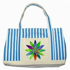 Chromatic Flower Variation Star Rainbow Striped Blue Tote Bag by Alisyart