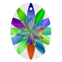 Chromatic Flower Variation Star Rainbow Oval Ornament (two Sides) by Alisyart