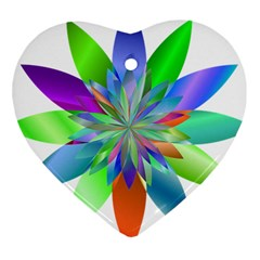 Chromatic Flower Variation Star Rainbow Heart Ornament (two Sides) by Alisyart