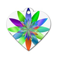 Chromatic Flower Variation Star Rainbow Dog Tag Heart (one Side) by Alisyart