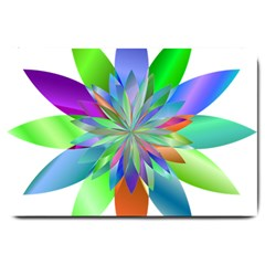 Chromatic Flower Variation Star Rainbow Large Doormat  by Alisyart