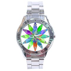 Chromatic Flower Variation Star Rainbow Stainless Steel Analogue Watch by Alisyart