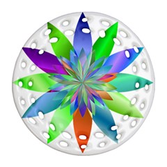 Chromatic Flower Variation Star Rainbow Round Filigree Ornament (two Sides) by Alisyart