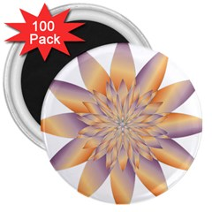Chromatic Flower Gold Star Floral 3  Magnets (100 Pack) by Alisyart