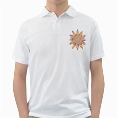 Chromatic Flower Gold Star Floral Golf Shirts