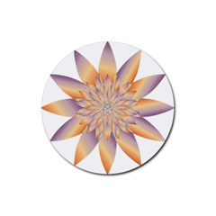Chromatic Flower Gold Star Floral Rubber Coaster (round)