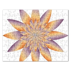 Chromatic Flower Gold Star Floral Rectangular Jigsaw Puzzl by Alisyart