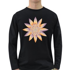 Chromatic Flower Gold Star Floral Long Sleeve Dark T Shirts