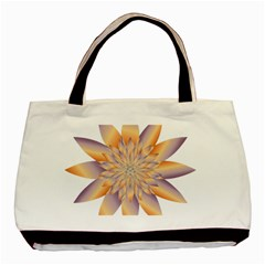 Chromatic Flower Gold Star Floral Basic Tote Bag (two Sides) by Alisyart