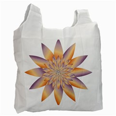 Chromatic Flower Gold Star Floral Recycle Bag (one Side) by Alisyart